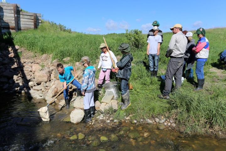 Testing the water of Oscar Creek with Hafford students